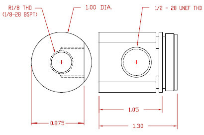 Inlet Fitting - R1/8 = 1/8-28 BSPT female