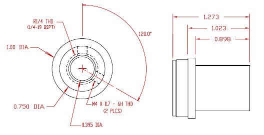 Exhaust Fitting - R1/4 = 1/4-19 BSPT female